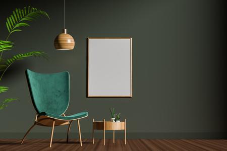 Burlarse del marco del cartel en el interior de estilo escandinavo. Diseño de interiores minimalista. Ilustración 3D. Foto de archivo