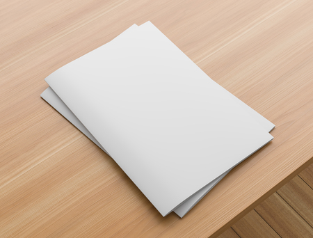 Sotfcover magazine, catalogue or brochure mock up on wooden table. A4 format. 3D illustration.
