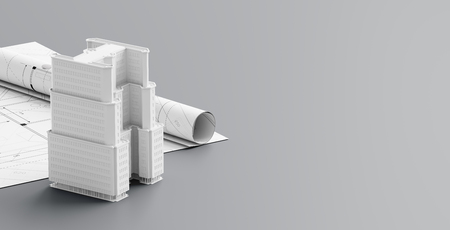 Building or architectural design concept on blueprints. Construction project isolated on light gray background. 3d illustration.