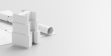 Building or architectural design concept on blueprints. Construction project isolated on white background. 3d illustration.