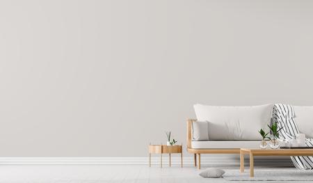 Binnenmuurmodel met bank in Scandinavische stijl met salontafel. Minimalistisch interieurontwerp. 3D illustratie.