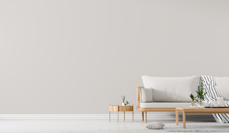 Maqueta de pared interior con sofá de estilo escandinavo con mesa de café. Diseño de interiores minimalista. Ilustración 3D.