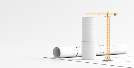 Building or architectural design concept on blueprints with tower crane. 3d illustration.