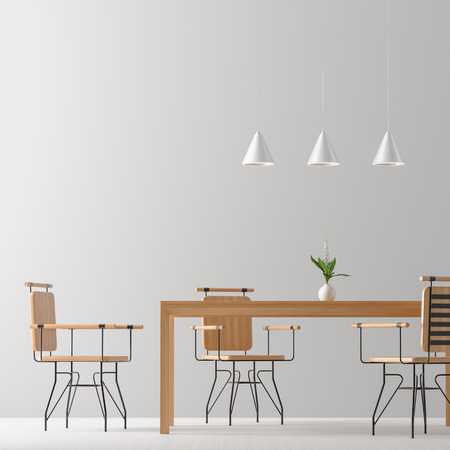 Spacious modern dining room with wooden chairs and table.  Minimalist dining room design. 3D illustration.