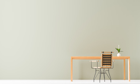 Minimalist workspace design with wooden table and chair. Empty wall mock up in minimal interior design concept. 3D illustration.