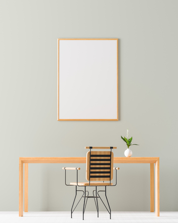 Mock up poster frame in minimalist workspace. Minimalist room design with wooden table and chair. 3D illustration. Stock fotó