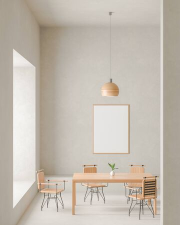 Mock up poster frame in modern, spacious dining room with concrete walls. Minimalist dining room design. 3D illustration. Stock fotó