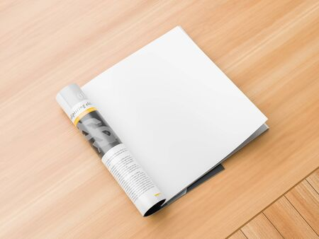 Realistic, right page isolated, square magazine or catalog mock up on wooden background. Blank square magazine page for mockups. 3D illustration. Stock fotó