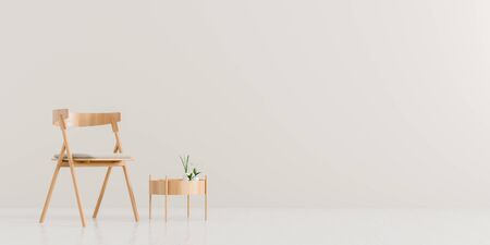 Modern living room with armchair and wooden small coffee table. Scandinavian style furniture design. 3D illustration. Stock fotó