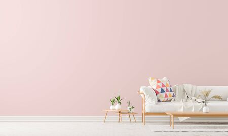Scandinavian style interior with sofa and coffe table. Empty wall mock up in minimalist interior with pastel colors. 3D illustration. Stock fotó