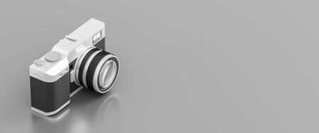 Retro looking digital camera isolated on gray background with copy space. 3D illustration.