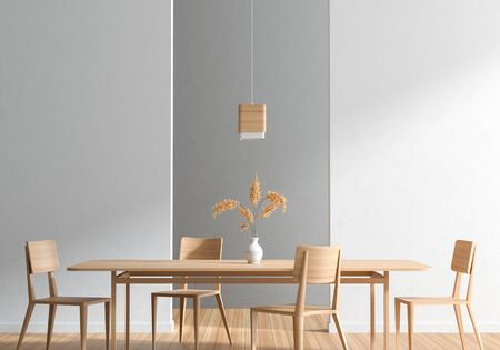Spacious Modern Dining Room With Wooden Chairs And Table