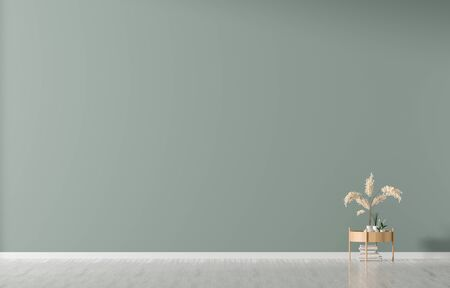 Empty wall mock up in Scandinavian style interior. Minimalist interior design. 3D illustration. Stok Fotoğraf - 132064590