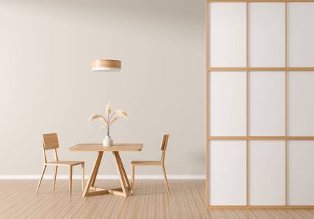 Spacious modern dining room with wooden chair and table.  Minimalist dining room design. 3D illustration. Stok Fotoğraf