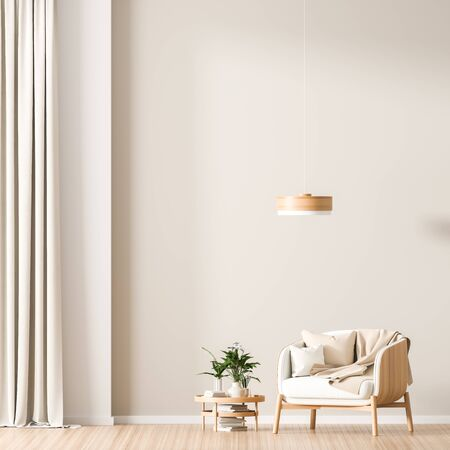 Empty wall mock up in Scandinavian style interior with wooden armchair. Minimalist interior design. 3D illustration. Stok Fotoğraf