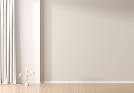 Empty wall mock up in Scandinavian style interior. Minimalist interior design. 3D illustration.