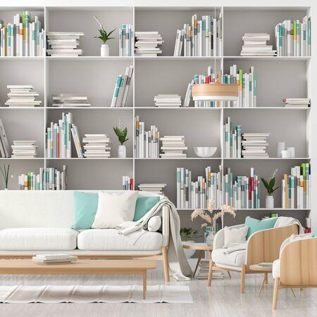 Modern, Scandinavian style interior with book shelf full of books. Minimalist interior design. 3D illustration.