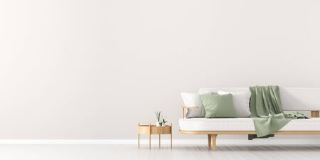 White, empty wall mock up in Scandinavian style interior with white couch. Minimalist interior design. 3D illustration. Stock Photo