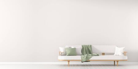White, empty wall mock up in Scandinavian style interior with white couch. Minimalist interior design. 3D illustration. Stok Fotoğraf