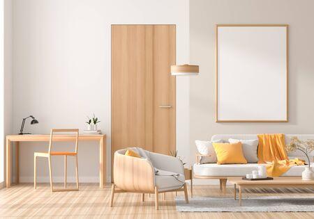 Mock-up-Posterrahmen im skandinavischen Stil mit Holzmöbeln. Minimalistisches Innendesign. 3D-Darstellung.
