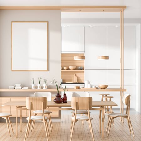 Modern, spacious kitchen with wooden island and wooden dining table. 3D illustration
