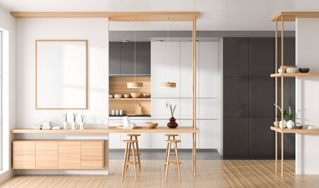 Modern, spacious kitchen with wooden island. 3D illustration