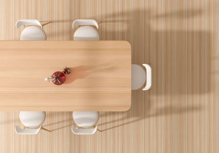 Top view of wooden dining table and wooden chairs with vases in bright dining room. 3D illustration