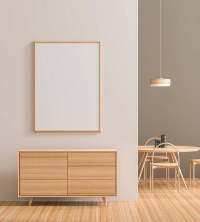 Mock up poster frame in modern interior with wooden furnitures.  Minimalist dining room design. 3D illustration. Banque d'images - 131815663