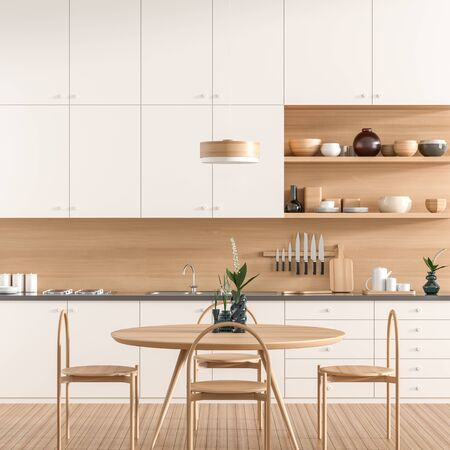 Scandinavian style modern kitchen with dining table. Modern kitchen design with wooden furnitures. 3D illustration. Banque d'images - 131815664