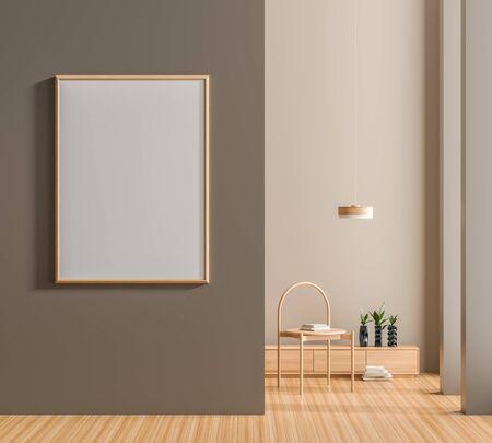 Mock up poster frame in Scandinavian style interior. Minimalist interior design. 3D illustration. 版權商用圖片