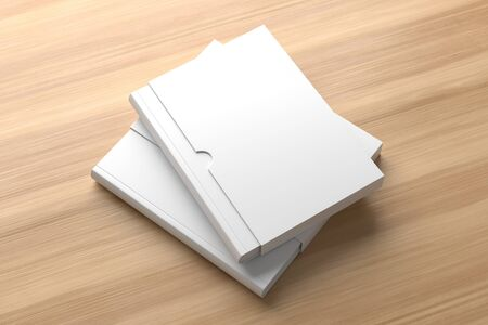 Slipcase book mock up isolated on wooden background. 3D illustration