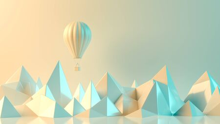Travel concept background design with hot air balloon and mountains. 3D illustration.