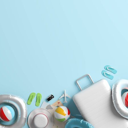 White suitcase on pastel blue background with copy space. Mock up for travel concept design. 3D illustration. Stok Fotoğraf - 132463299