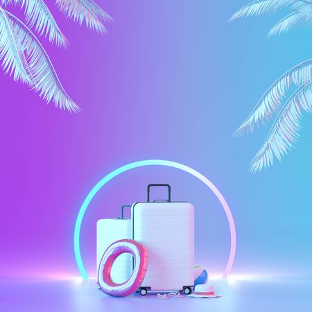 White suitcase with palm trees on neon illuminated background. Mock up for travel concept design with neon colors. 3D illustration.