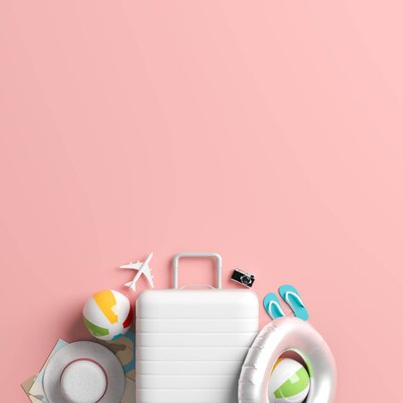White suitcase on pastel pink background with copy space. Mock up for travel concept design. 3D illustration. 写真素材