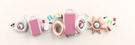 Travelers accessories on white background. Mock up for travel concept design. 3D illustration. Stok Fotoğraf