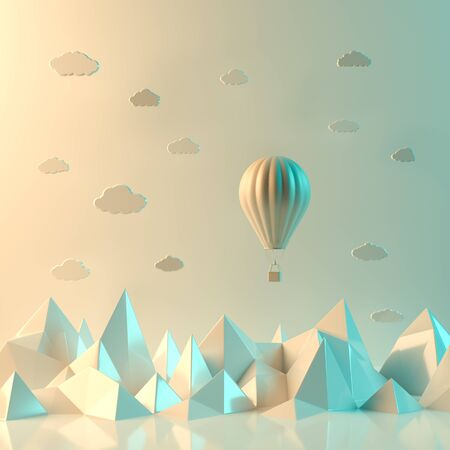 Surrealist travel concept background design with hot air balloon and mountains. 3D illustration. Stok Fotoğraf