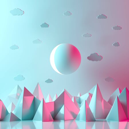 Surrealist background design with moon and mountains. 3D illustration.