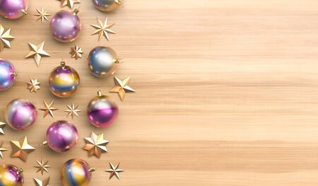 Merry Christmas and happy new year background. Christmas ornaments on wooden background. 3D illustration. 写真素材
