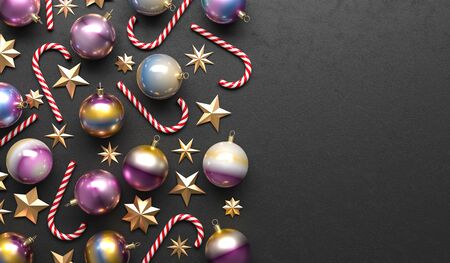 Merry Christmas and happy new year background. Christmas ornaments on black background. 3D illustration. Stok Fotoğraf - 132463336
