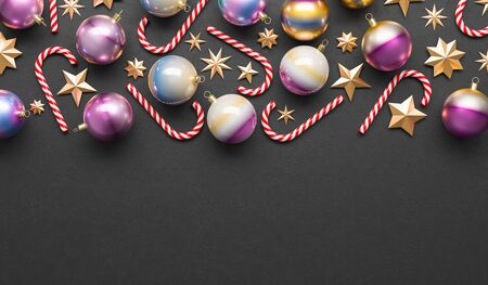 Merry Christmas and happy new year background. Christmas ornaments on black background. 3D illustration. Stok Fotoğraf - 132463401