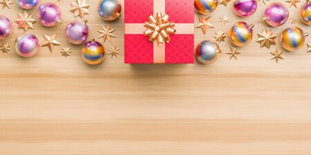 Merry Christmas and happy new year background. Christmas ornaments on wooden background. 3D illustration. Stok Fotoğraf