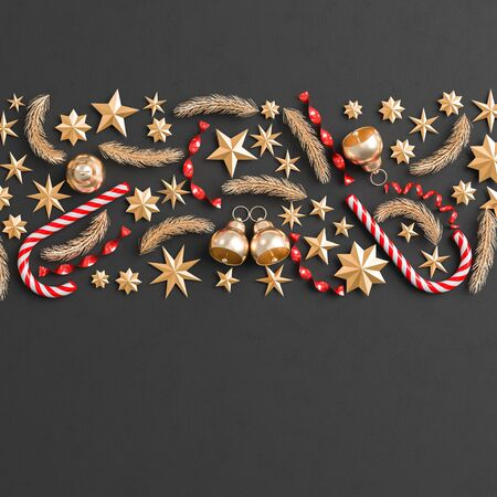 Merry Christmas and happy new year background. Christmas ornaments on black background. 3D illustration.