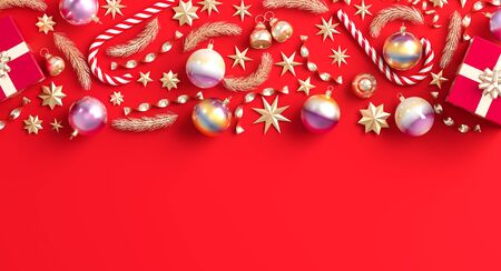 Merry Christmas and happy new year background. Christmas ornaments and gift boxes on red background. 3D illustration.