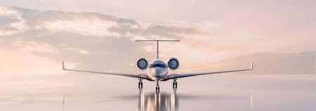 Concetto di viaggio di classe business, jet privato di lusso al tramonto o all'alba. illustrazione 3D.