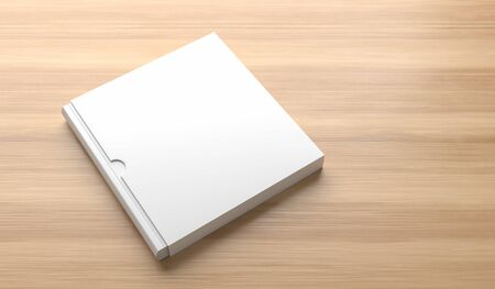 Square slipcase book mock up isolated on wooden background. 3D illustration