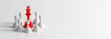 Business concept design with chess pieces isolated on white background. 3D illustration