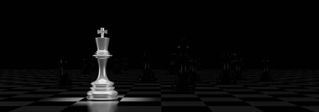 Business concept design with chess pieces. 3D illustration.