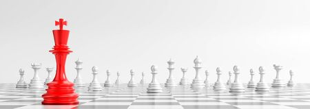 Business concept design with chess pieces on white background. 3D illustration Reklamní fotografie