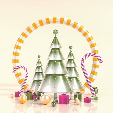 Merry Christmas and happy new year background. Surrealist Christmas background design with ornaments. 3D illustration.